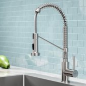 KRAUS Bolden™ Single Handle 18'' Commercial Kitchen Faucet with Dual Function Pull Down Sprayhead in Stainless Steel Finish
