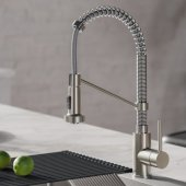 KRAUS Bolden� Single Handle 18'' Commercial Kitchen Faucet with Dual Function Pull-Down Sprayhead in Stainless Steel/Chrome Finish