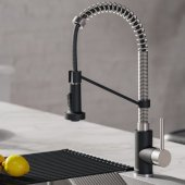 KRAUS Bolden™ Single Handle 18'' Commercial Kitchen Faucet with Dual Function Pull-Down Sprayhead in Stainless Steel/Matte Black Finish