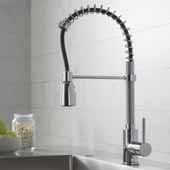 KRAUS Commercial Style Kitchen Faucet with Spring Spout and 3-Function Pull-Down Sprayer, Chrome