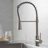 KRAUS Commercial Style Kitchen Faucet with Spring Spout and 3-Function Pull-Down Sprayer, Stainless Steel Finish