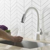 KRAUS Nolen™ Dual Function Pull-Down Kitchen Faucet, Chrome/White Finish, Faucet Height: 16-3/8'' H, Spout Reach: 9-1/8'' D, Spout Height: 9'' H