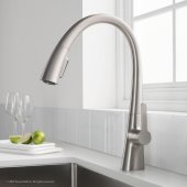 Nolen™ Single Handle Pull Down Kitchen Faucet with Dual Function Sprayhead in all-Brite™ Spot Free Stainless Steel Finish, Faucet Height: 16-3/8'', Spout Reach: 9-1/8''