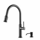 Sellette™ Single Handle Pull Down Kitchen Faucet with Deck Plate and Soap Dispenser in Oil Rubbed Bronze Finish