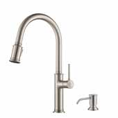 Sellette� Single Handle Pull Down Kitchen Faucet with Deck Plate and Soap Dispenser in all-Brite� Spot Free Stainless Steel Finish