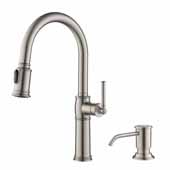 Sellette™ Traditional Single Handle Pull-Down Kitchen Faucet with Soap Dispenser and Deck Plate in Spot Free Stainless Steel