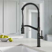 Sellette™ 23-1/4'' H Commercial Style Pull-Down Kitchen Faucet with Deck Plate in Oil Rubbed Bronze Finish, Spout Height: 7'', Spout Reach: 8-5/8''