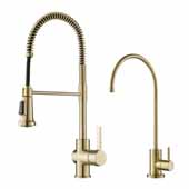 Britt Commercial Style Kitchen Faucet and Water Filter Faucet Combo in Spot Free Antique Champagne Bronze