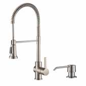 Britt™ Single Handle Commercial Kitchen Faucet with Deck Plate and Soap Dispenser in all-Brite™ Spot Free Stainless Steel Finish