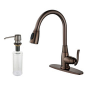 Single Lever Pull Out Kitchen Faucet and Soap Dispenser, Satin Nickel