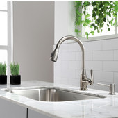 29-3/4'' Farmhouse Single Bowl Kitchen Sink with Kitchen Faucet & Soap Dispenser in Satin Nickel