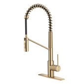 Oletto™ Commercial Style Pull-Down Single Handle Kitchen Faucet with QuickDock Top Mount Installation Assembly and 360 Degree Swivel Spout in Spot Free Antique Champagne Bronze, Spout Height: 8-1/2''