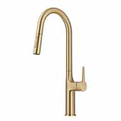 KRAUS Oletto Tall Pull-Down Single Handle Kitchen Faucet in Brushed Gold, 4-3/8'' W x 10-1/4'' D x 19-3/4'' H