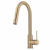 KRAUS Oletto™ Contemporary Pull-Down Single Handle Kitchen Faucet in Brushed Gold, Faucet Height: 16-1/4'' H, Spout Reach: 9'' D, Spout Height: 7-7/8'' H