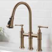 Allyn™ Transitional Bridge 16'' H Kitchen Faucet with Pull-Down Sprayhead in Brushed Gold Finish, Spout Height: 7-3/4'', Spout Reach: 9-3/8''