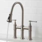 Allyn™ Transitional Bridge 16'' H Kitchen Faucet with Pull-Down Sprayhead in Spot Free Stainless Steel Finish, Spout Height: 7-3/4'', Spout Reach: 9-3/8''