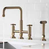 Urbix™ Industrial Bridge Height Adjustable Kitchen Faucet with Side Sprayer in Brushed Gold Finish, Spout Height: 8-3/8'' - 9-3/8'' Adjustable, Spout Reach: 9-3/4''