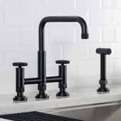 Urbix™ Industrial Bridge Height Adjustable Kitchen Faucet with Side Sprayer in Matte Black Finish, Spout Height: 8-3/8'' - 9-3/8'' Adjustable, Spout Reach: 9-3/4''