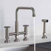 Urbix™ Industrial Bridge Height Adjustable Kitchen Faucet with Side Sprayer in Spot Free Stainless Steel, Spout Height: 8-3/8'' - 9-3/8'' Adjustable, Spout Reach: 9-3/4''