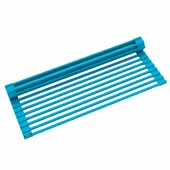 #KRS-KRM-10AQ Multipurpose Over-Sink Roll-Up Dish Drying Rack in Aqua, 20-1/2'' W x 12-11/16'' D x 1/4'' H