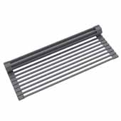 #KRS-KRM-10DG Multipurpose Over-Sink Roll-Up Dish Drying Rack in Dark Grey, 20-1/2'' W x 12-11/16'' D x 1/4'' H
