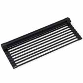 Multipurpose Workstation Sink Roll-Up Dish Drying Rack in Matte Black, 16-7/8''W x 12''D x 3/8''H