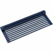 Multipurpose Workstation Sink Roll-Up Dish Drying Rack in Dark Blue, 16-7/8''W x 12''D x 3/8''H