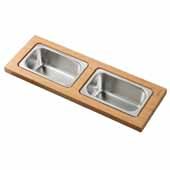Workstation Kitchen Sink Serving Board Set with 2 Rectangular Stainless Steel Bowls, 16-3/4''W x 6''D x 3-7/8''H