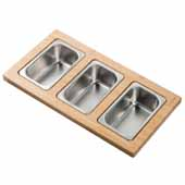 Workstation Kitchen Sink Serving Board Set with 3 Rectangular Stainless Steel Bowls, 16-3/4''W x 9''D x 3-7/8''H