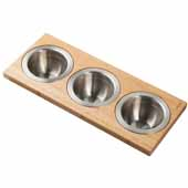 Workstation Kitchen Sink Serving Board Set with 3 Round Stainless Steel Bowls, 16-3/4''W x 7''D x 2-5/8''H
