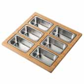 Workstation Kitchen Sink Serving Board Set with 6 Rectangular Stainless Steel Bowls, 16-3/4''W x 15-3/4''D x 3-7/8''H
