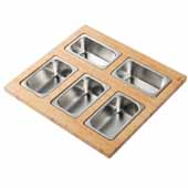 Workstation Kitchen Sink Serving Board Set with 5 Rectangular Stainless Steel Bowls, 16-3/4''W x 15-3/4''D x 3-7/8''H
