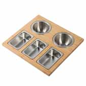 Workstation Kitchen Sink Serving Board Set with Round and Rectangular Stainless Steel Bowls, 16-3/4''W x 15-3/4''D x 3-7/8''H