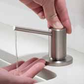 Kitchen Soap and Lotion Dispenser in Stainless Steel, 3-1/4''W x 4-1/4''D x 12-7/8''H