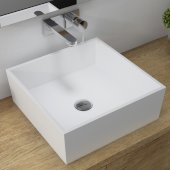 Natura™ Square Vessel Composite Bathroom Sink with Matte Finish and Nano Coating in White, 16-3/4'' W x 16-3/4'' D x 6'' H