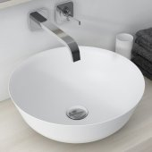 Natura™ Round Vessel Composite Bathroom Sink with Matte Finish and Nano Coating in White, 16-5/16'' Diameter x 6'' H