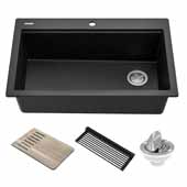 Bellucci Workstation 33'' Drop-In Granite Composite Single Bowl Kitchen Sink in Metallic Black with Accessories, 33'' W x 22'' D x 9-5/8'' H