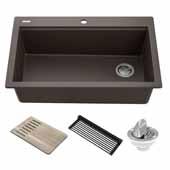 Bellucci Workstation 33'' Drop-In Granite Composite Single Bowl Kitchen Sink in Metallic Brown with Accessories, 33'' W x 22'' D x 9-5/8'' H
