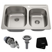 33'' Topmount 60/40 Double Bowl 18 Gauge S/S  Kitchen Sink with NoiseDefend™ Soundproofing