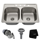 33'' Topmount 50/50 Double Bowl 18 Gauge S/S  Kitchen Sink with NoiseDefend� Soundproofing