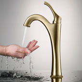 Arlo Vessel Bathroom Faucet with Pop-Up Drain in Brushed Gold, Faucet Height: 12-1/8'', Spout Reach: 5-1/8''