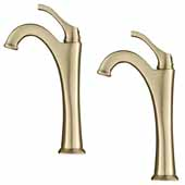 KRAUS Arlo™ Brushed Gold Tall Vessel Bathroom Faucet with Pop-Up Drain (2-Pack)