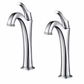 KRAUS Arlo™ Chrome Single Handle Vessel Bathroom Faucet with Pop Up Drain (2-Pack)