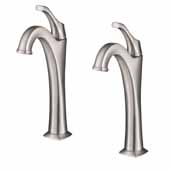 KRAUS Arlo™ Spot-Free all-Brite Brushed Nickel Single Handle Vessel Bathroom Faucet with Pop Up Drain (2-Pack)