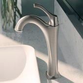 Arlo™ Spot-Free all-Brite Brushed Nickel Single Handle Vessel Bathroom Faucet with Pop Up Drain, Faucet Height: 12-1/8'', Spout Reach: 5''
