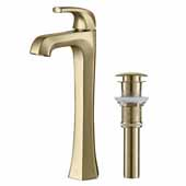 KRAUS Esta™ Single Handle Vessel Bathroom Faucet with Pop-Up Drain In Brushed Gold, Spout Height: 9'', Spout Reach: 5-1/8''