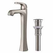 KRAUS Esta™ Single Handle Vessel Bathroom Faucet with Pop-Up Drain In Spot Free Stainless Steel, Spout Height: 9'', Spout Reach: 5-1/8''