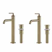 KRAUS Ramus™ Single Handle Vessel Bathroom Sink Faucet with Pop-Up Drain in Brushed Gold (2-Pack)