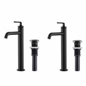 KRAUS Ramus™ Single Handle Vessel Bathroom Sink Faucet with Pop-Up Drain in Matte Black (2-Pack)