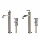 KRAUS Ramus™ Single Handle Vessel Bathroom Sink Faucet with Pop-Up Drain in Spot Free Stainless Steel (2-Pack)